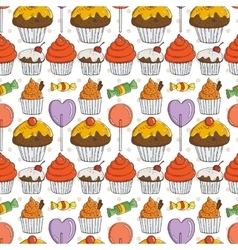 Candy and Muffins Seamless Pattern vector image