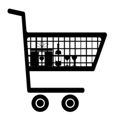 cart for shopping black color icon vector image