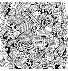 cartoon sketchy doodles japan food vector image