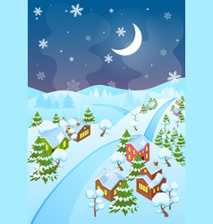 cartoon winter village and vector image