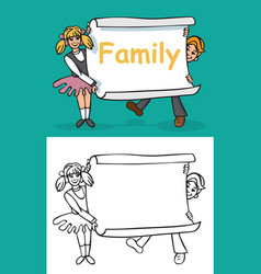 Children and sheet paper with inscription family vector