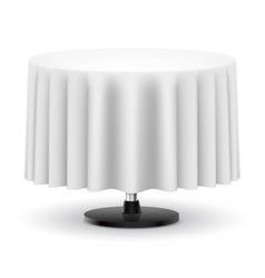 Classic round table with long white cloth vector