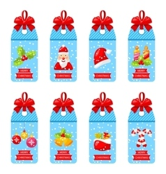 Collection Christmas Labels with Bows Isolated vector image