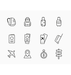 Collection icons and linear on a white vector