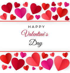 Colorful red paper hearts happy valentines day vector