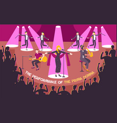 Concert scene flat composition vector