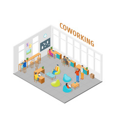 coworking center interior with furniture isometric vector image vector image