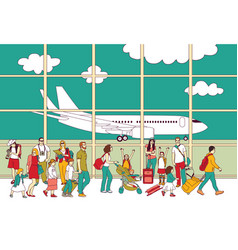 Crowd travel people family airport and plane vector