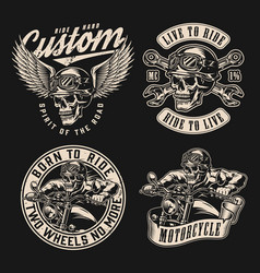 custom motorcycle vintage monochrome labels vector image
