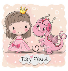 Cute cartoon fairy tale princess and dragon vector