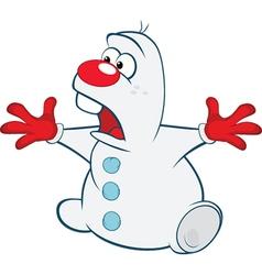 Cute Snowman Cartoon Character vector image