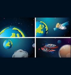 Earth space scene set vector