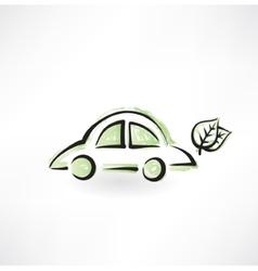 Eco car grunge icon vector