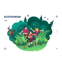 ecotourism screen for smartphone application vector image