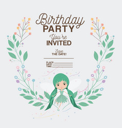 fairy with floral decoration invitation card vector image