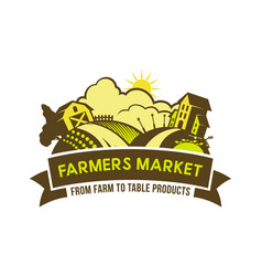 farmers market from farm to table emblem vector image