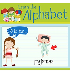 Flashcard letter P is for pyjamas vector image