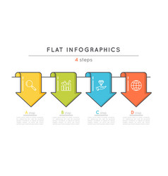 flat style 4 steps timeline infographic template vector image