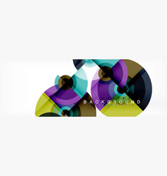 flying circles geometric abstract background vector image