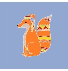 Fox Wearing Tribal Clothing vector image