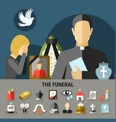 Funeral and mourning composition vector