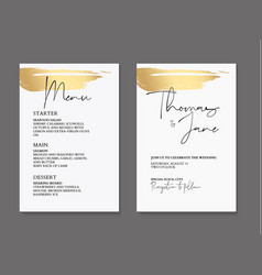 golden brush tender simple wedding cards with vector image