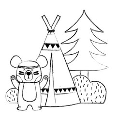 Grunge bear animal with camp next to bush and pine vector