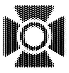Halftone dot searchlight icon vector