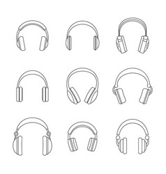 headphones music speakers icons set outline style vector image