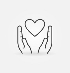 heart in hands outline icon love concept vector image