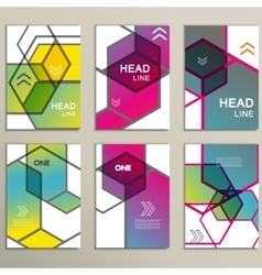 hexagon infographics set 6 template for vector image