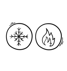 Hot and cold symbol icon set on white background vector
