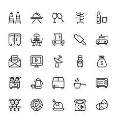 Hotel line icons 13 vector