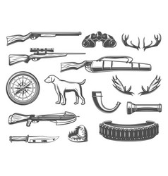 Hunting equipment and items vector
