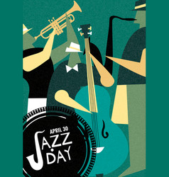 international jazz day retro poster of live music vector image