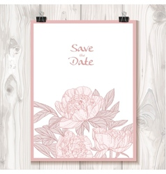 Invitation with peonies hanging on binder on a vector