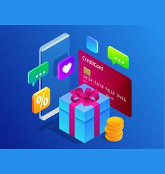 isometric online shopping concept digital online vector image