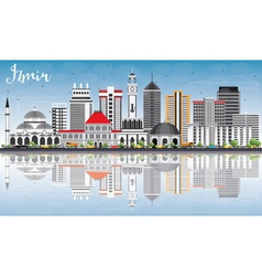Izmir Skyline with Gray Buildings Blue Sky vector