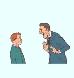 joyful meeting boss and businessman vector image