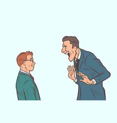 Joyful meeting boss and businessman vector
