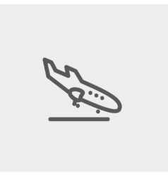 Landing airplane thin line icon vector