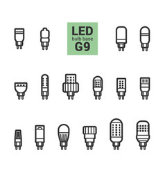 Led light g9 bulbs outline icon set vector
