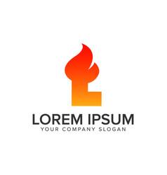 Letter l ignition flame logo design concept vector