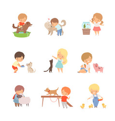 Little children taking care domestic animals vector