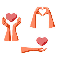 love expression human hands and holding heart vector image