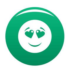 Love smile icon green vector