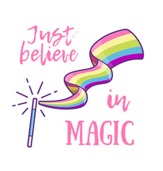 magic wand making a rainbow vector image