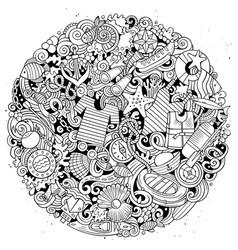 Marine hand drawn doodles vector