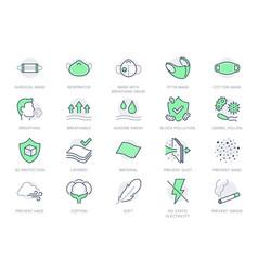 Medical masks line icons vector