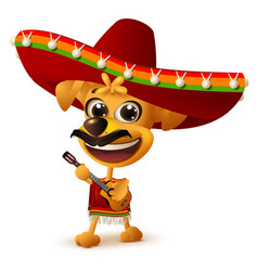 Mexican dog in sombrero plays guitar vector
